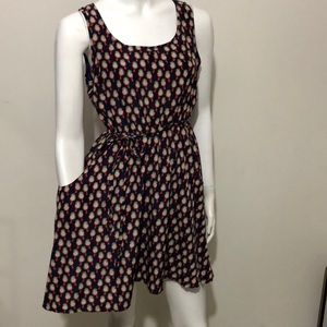 Fit and flare chirping Bird dress navy and red